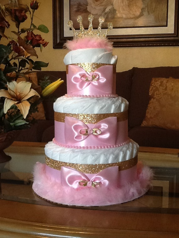 Prinzessin Windel Kuchen Pink Und Gold Windel Etsy