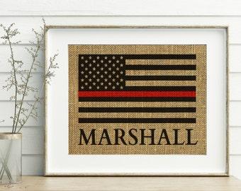 Firefighter Gift - Thin Red Line Flag Burlap Print - Fireman Gift - Firefighter Decor - Firefighter Gift For Him - Firefighter Flag Print