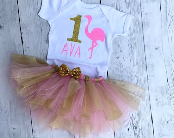 Flamingo First Birthday Outfit