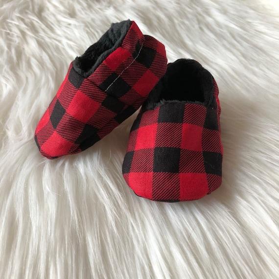 Buffalo plaid crib shoes baby booties