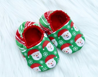 Christmas Shoes, Baby, Infant Shoes, Gender Neutral Santa Claus Booties, Crib Shoes,