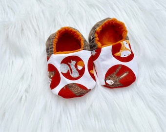 Red orange brown woodland Baby Infant Shoes gender neutral fall season