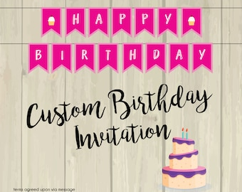 Custom Birthday Invitation Listing
