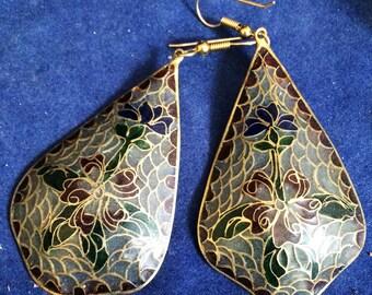 Pair of plique a Jour drop Earrings