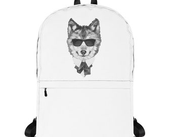 Cool Wolf Design Cute Wolf Arctic Wolf Lover Wolf Art Print Lone Wolf Charm Gifts Backpack