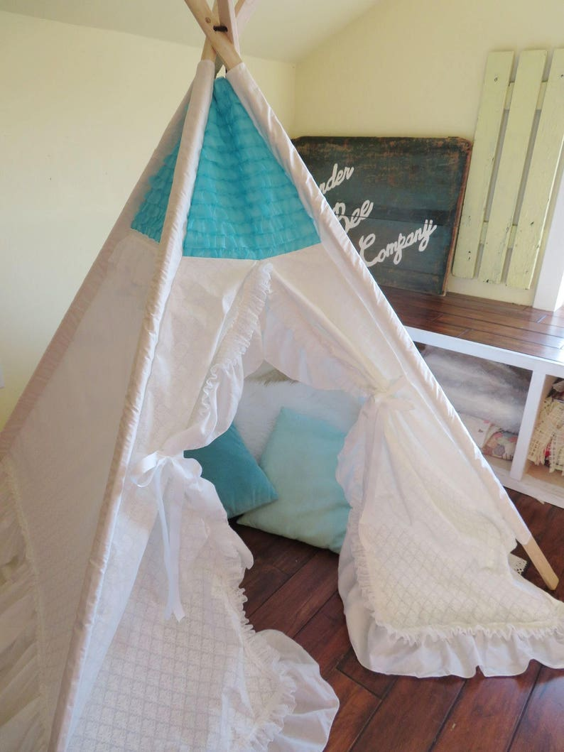 image 0 & White Teepee with Ruffles Teepee Tent Teepee for Girl Free | Etsy