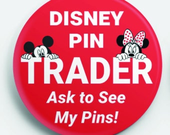 Disney Pin Trader Button | Ask to See My Pins Badge | Pin trading lanyard button | Pin trading hobby button | Bookbag pin | Backpack button