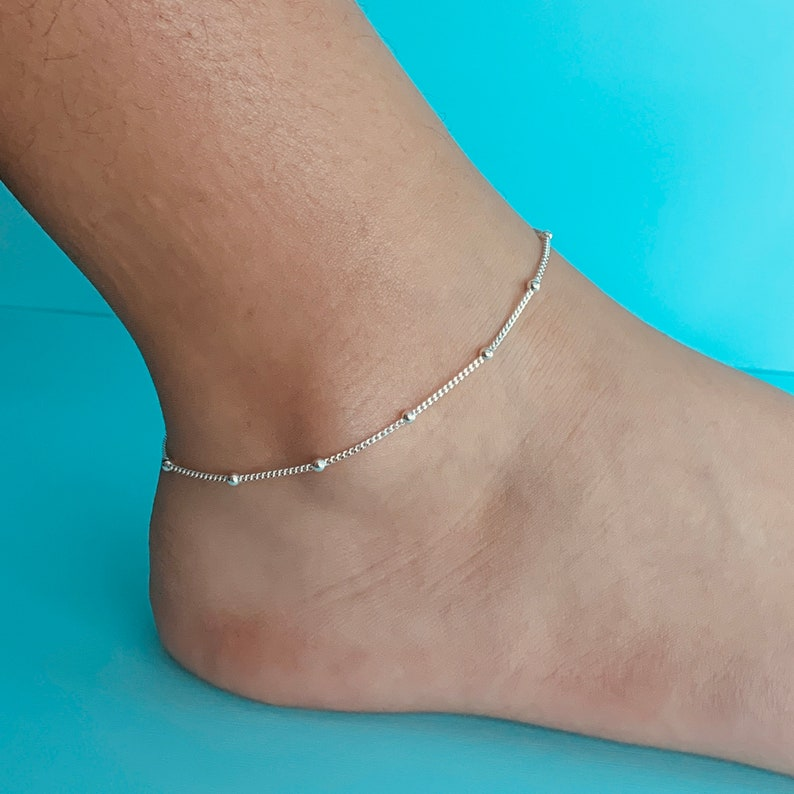 Sterling Silver Ball Anklet Curb