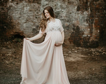 684e742bbf92d Boho Maternity Gown Bohemian Maternity Dress Chiffon Preagnacy Dress Gender  Reveal Dress for Photography Maternity Boudoir Dress Hattie