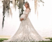 Boho Chic Maternity Dress Maternity Gown for Photos Reclaimed Lace Beach Wedding Dress for Maternity Bohemian Elopement Wedding Dress Elowen