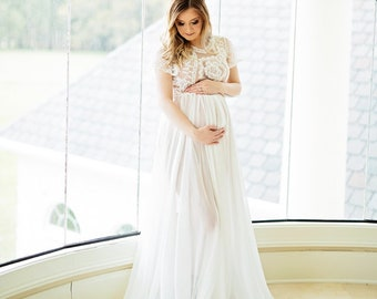 04f4c74c96c Boho Lace Maternity Gown Photography Long Maternity Dress for Photo Shoot Maternity  Wedding Baby Shower Dress Maternity Photo Shoot Dress