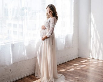 5137a9a34cb93a Lace Maternity Gown Photography Long Maternity Dress for Photo Shoot  Maternity Wedding Baby Shower Dress Maternity Photo Shoot Dress Karina