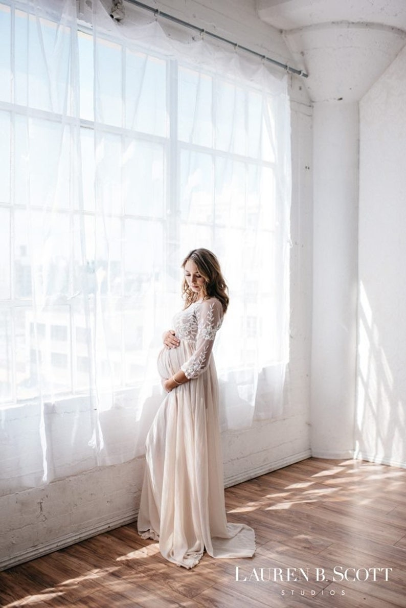 cbfa2a663ed Lace Maternity Gown Photography Long Maternity Dress for Photo