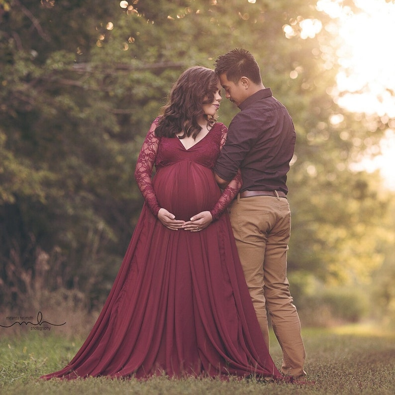 cb4d1295d Lace Baby Shower Maternity Gown Photography Prop Pregnancy
