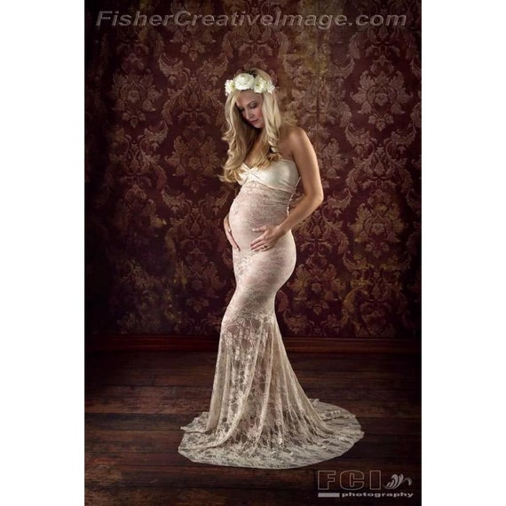 Lace Sweetheart Maternity Gowns Photography Mermaid Maternity Etsy