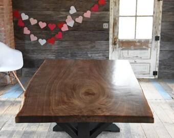 The Gwendolyn   Live Edge Walnut Slab Dining Table