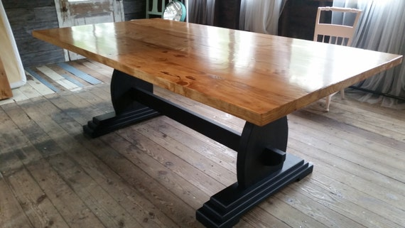 Handmade Trestle Dining Table, Farmhouse Kitchen Table