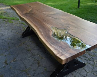 The Gwendolyn with Glass Inlay - Live Edge Walnut Slab Dining Table