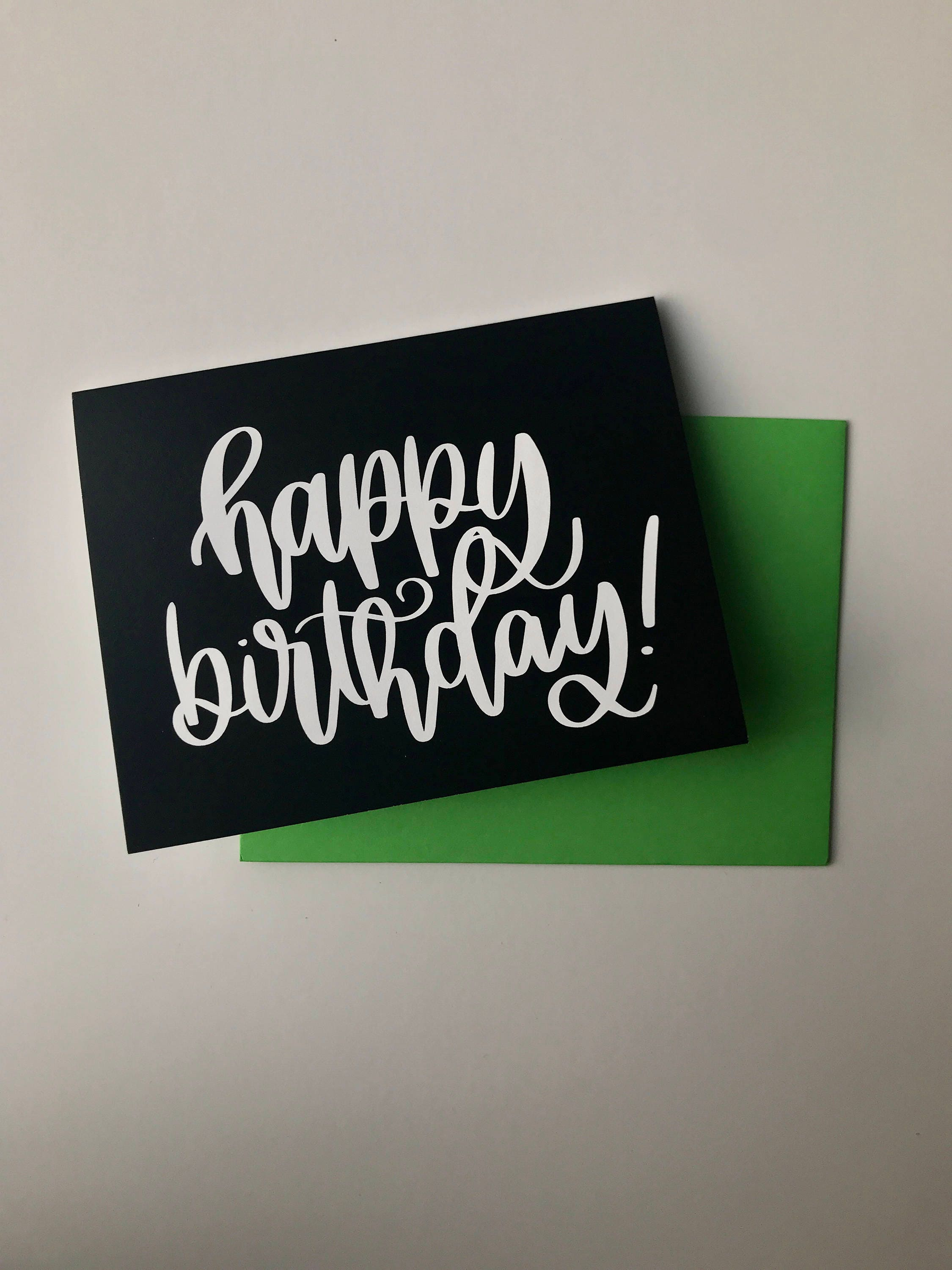 Happy Birthday Card Hand Lettered Card Birthday Card Simple Etsy