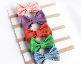 Baby Girl Headbands - Baby Bow Headbands - Baby Headbands - Baby Hair Bows - Hair Bows - Newborn Bows -Infant Bow Headband-Rainbow Headbands