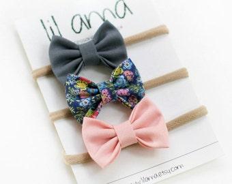 Baby Headband Set - Baby Bows Set - Newborn Bows - Nylon Headbands - Itty Bitty Bows - Mini Bows - Baby Hair Bows - Baby Headband