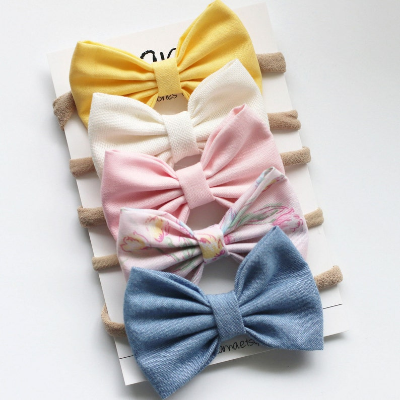 d662451e632d6 Spring Baby Headbands - Baby Bows - Baby Girl Bows Headband - Easter  Headbands - Baby Bow Headband-Baby Bow Clip-Spring Bow Set