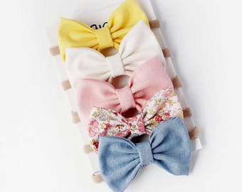 Spring Baby Headbands - Baby Bows - Easter Bows - Baby Girl Bow Headband - Easter Headbands - Baby Bow Headband-Baby Bow Clip-Spring Bow Set
