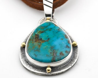 Turquoise Pendant, Evans Turquoise, Baja Turquoise, Sterling Silver, Turquoise Necklace, Turquoise Jewelry, Made In USA, 18K Gold, Vintage