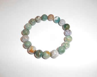 Indian Agate Bracelet Gemstone Bracelet Yoga Bracelet Stretch Bracelet Elastic Bracelet Agate Jewelry Stone Bracelet Mala Bracelet