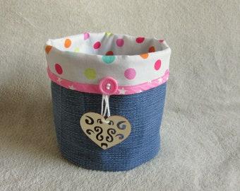 Reversible basket jeans & colorful dots