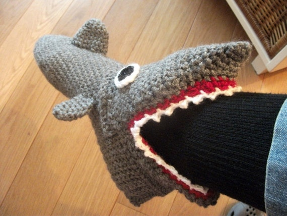 Gehäkelte Hausschuhe Haie Fertig Mt 41 Tm 46 Etsy
