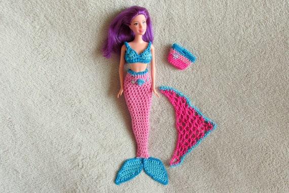 Meerjungfrau Set Für Prinzessinnen Und Barbie Puppen Häkeln Etsy
