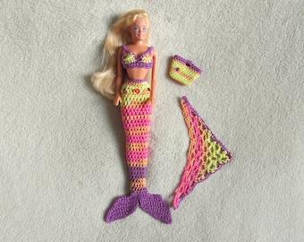 Dutch crochet pattern: mermaid set for all princess and barbie dolls