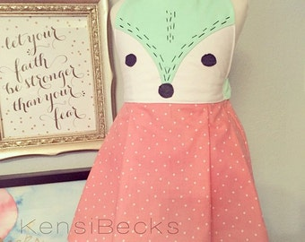 Coral Pink and Mint Green Fox Dress - Hand Stitched Fox Face Detail Halter Tie Back Dress - Can Be Customized