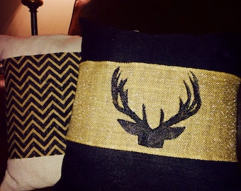 Set of Burlap Pillow Wraps / Solid Burlap with Black Antler Embellishment/ Chevron Burlap Wrap / shabby chic / rustic / wedding gift /