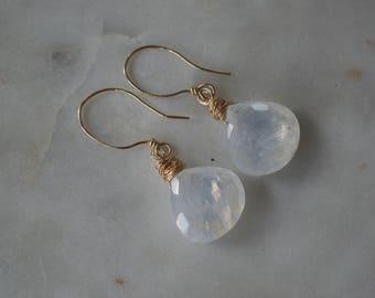 Rainbow moonstone briolette drop earrings
