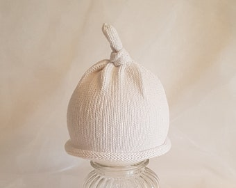 White hand made knitted baby/child beanie hat cotton  baby shower gift photo prop coming home beanie
