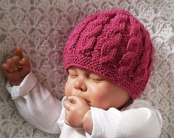 knitted beanie hat cap unisex boy girl cotton cable new baby gift photo prop coming home hat photo prop winter hat baby shower gift pink