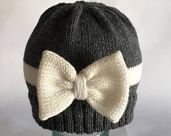 Hand knit baby beanie hat grey  cream bow striped beanie hat baby child photo prop new baby gift cotton
