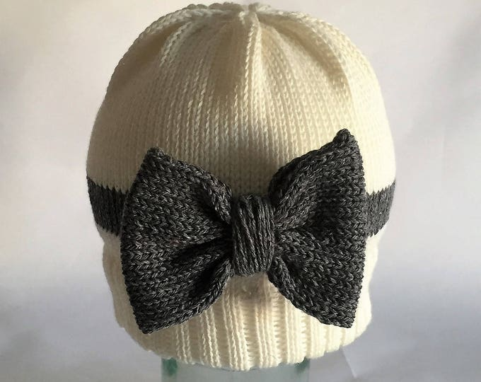 Hand knit baby beanie hat cream and grey bow striped beanie hat baby child photo prop new baby gift cotton little girl