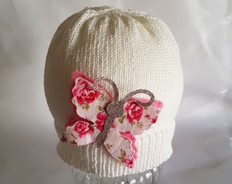 Knitted Cotton Baby Butterfly Beanie hat cream winter baby child new baby gift photo prop applique