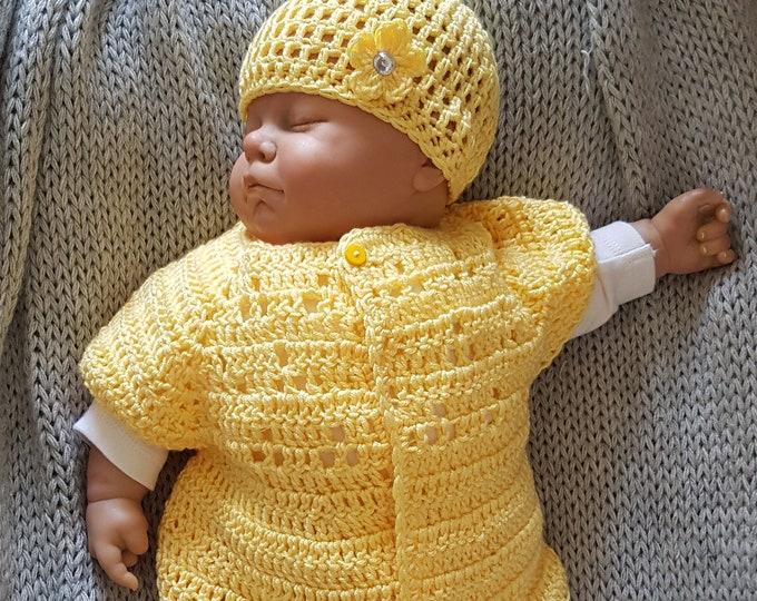 hand crochet baby girls cardigan and matching beanie hat