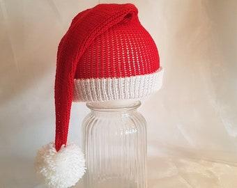 Santa elf Christmas pom pom beanie hat knitted cotton Christmas photo prop father Christmas hand made