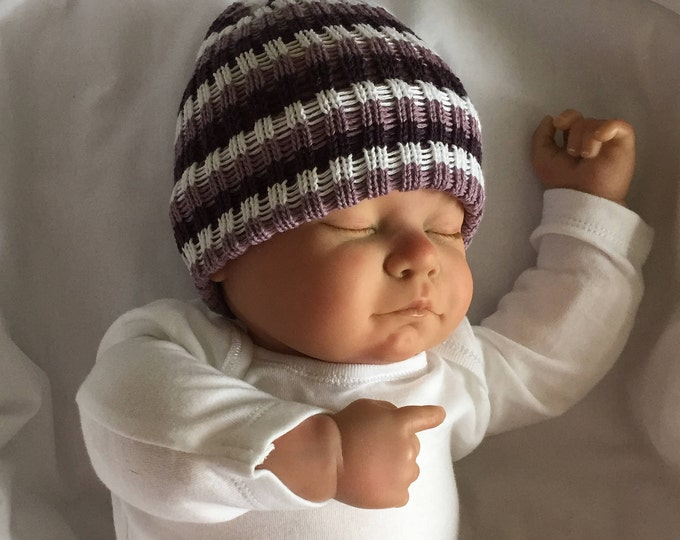 trendy rib baby beanie hat in purple grey and lilac all sizes