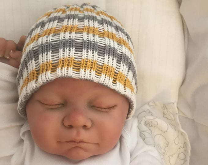 hand made knitted baby beanie girl boy baby child grey mustard and white great photo prop baby shower gift new baby hospital hat