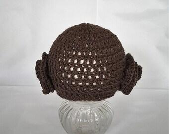 hand made crochet princess leia baby beanie hat star wars inspired