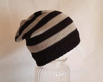 hand made knitted baby child slouch hat beanie cotton adult winter grey black