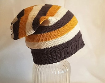 hand made knitted baby child slouch hat beanie cotton adult winter mustard cream and dark grey