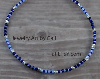 Triple Blue and Pewter Beaded Anklet