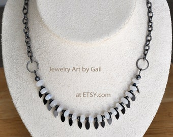 Rainbow Moonstone and Gunmetal Necklace and Earring Set